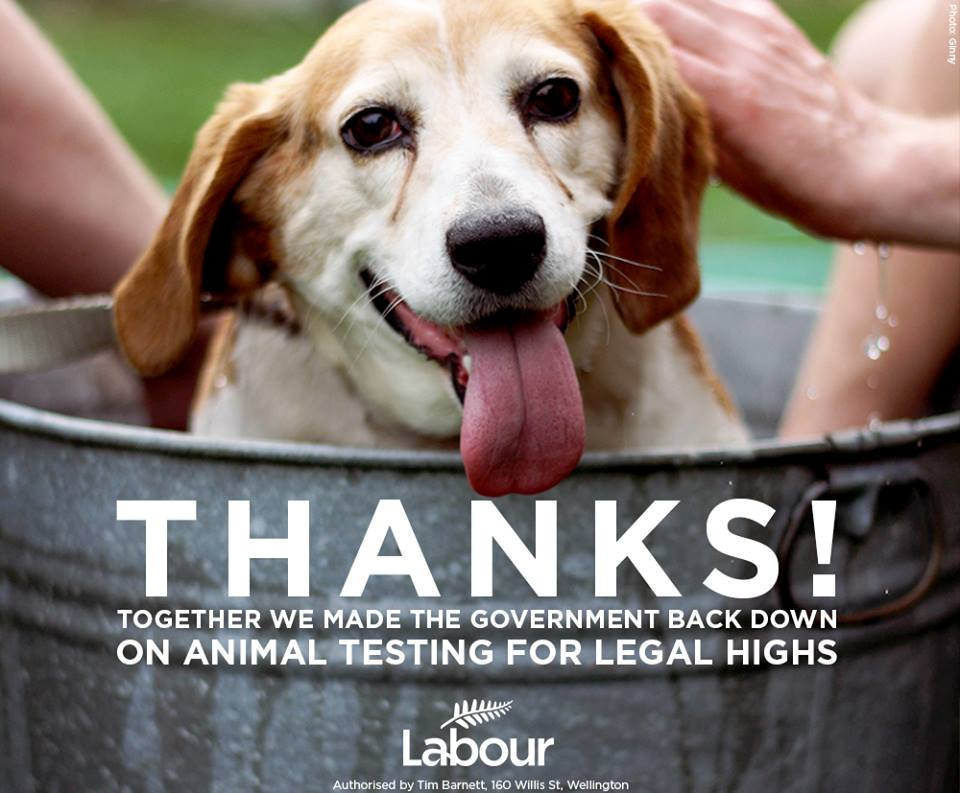 Happy Dog and text: Thanks! Together we made the government back down on animal testing for legal Highs